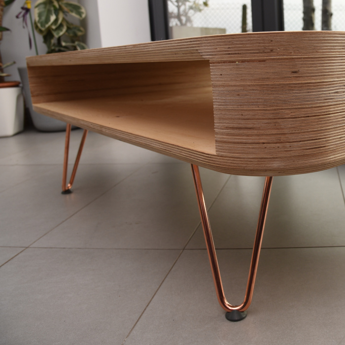 Birch plywood coffee table side view