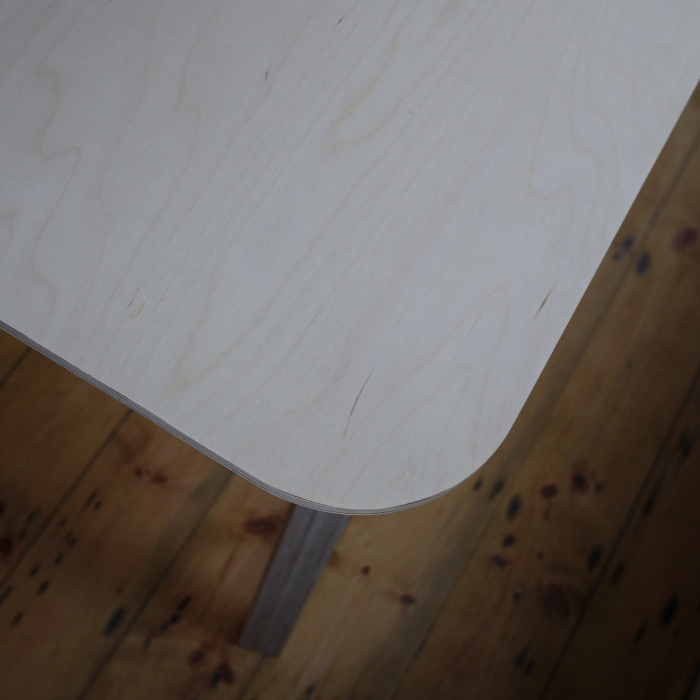 Birch plywood table top with rounded corner